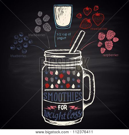 Colored chalk drawn illustration of  berries smoothie (strawberry, raspberry, blueberry)
