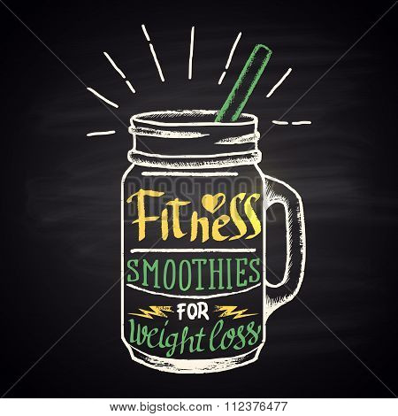 Colored chalk drawn illustration of  fitness smoothie in a bottle with ingredients. Smoothies for w