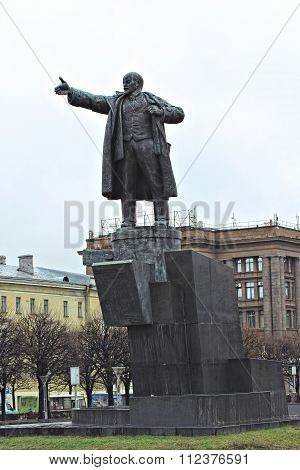 The Monument To Vladimir Lenin Near The Finland Station In St. Petersburg