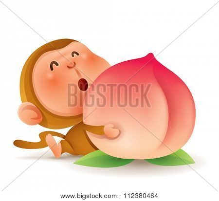 Chinese Zodiac - Monkey. Chinese New Year. Monkey holding a peach.