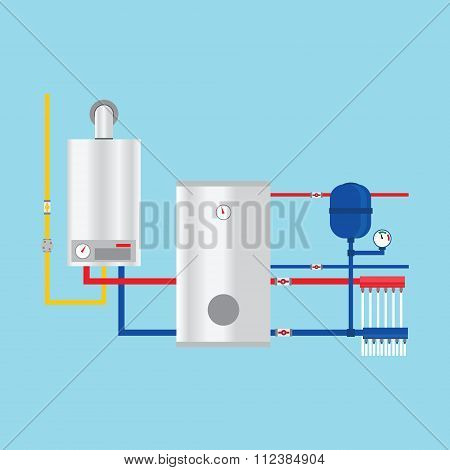 Gas Boiler In The Cottage. Vector. Gas Boiler In The Cottage Drawing. Gas Boiler In The Cottage Imag