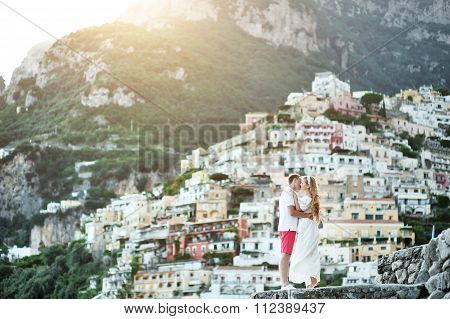 Romantic Young Couple In Honeymoon In Positano, Amalfi Coast, Italy