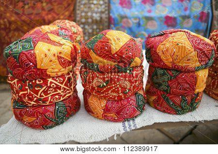 Colorful Ethnic Rajasthan Turbans On Market At Jaisalmer Fort, Rajasthan, India