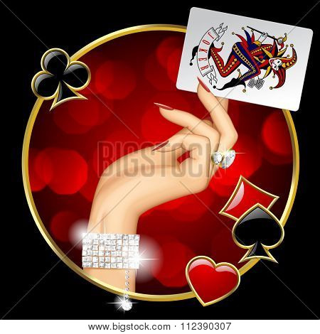 Hand of woman with jewelry holding Joker playing card on the round dark background with red lights and suit symbols. Casino game concept design. Vector illustration