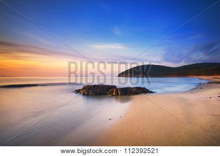 Sunset In Cala Violina Bay Beach In Maremma, Tuscany. Mediterranean Sea. Italy.