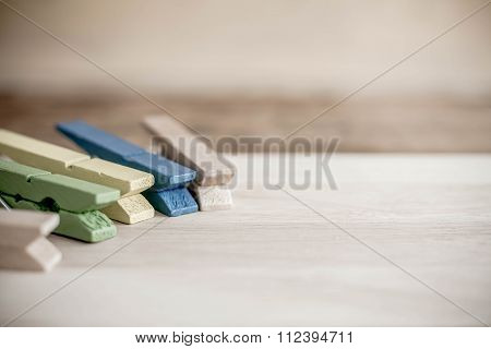 Wooden Clothespin On Wood Background.