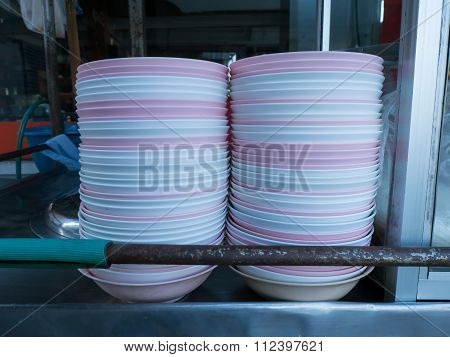 Stack Of Bowls From Street Hawker Stall