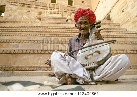 The Golden Fort Of Jaisalmer Old Folk Musician