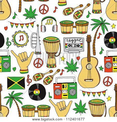Reggae seamless pattern