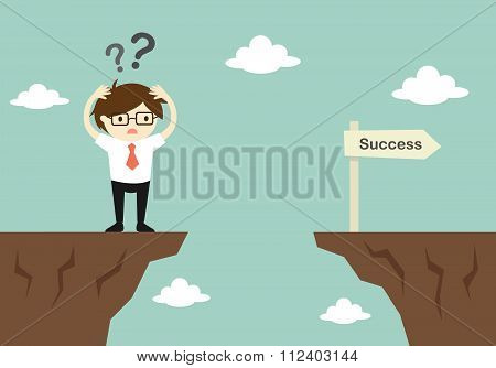 Business concept, businessman is confusing about how to across to another cliff. Vector illustration