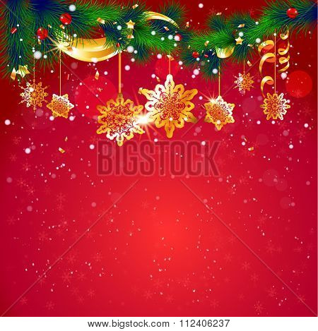 Red holiday background. Christmas tree with place for text. Hot festive design for card, banner,ticket, leaflet and so on.