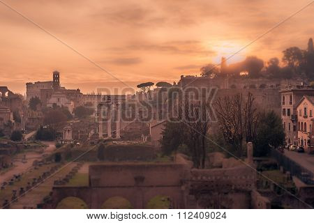 Rome, Italy: The Roman Forum, tilt-shift effect