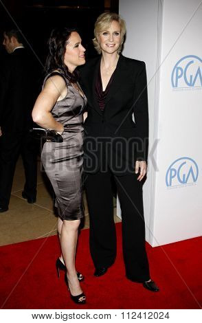 HOLLYWOOD, CALIFORNIA - January 22, 2010. Jane Lynch and Lara Embry at the 22nd Annual Producers Guild Awards held at the Beverly Hilton hotel, Los Angeles.