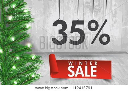 Winter Sale 35  Percent. Winter Sale Background With Red Ribbon Banner And Snow. Sale. Winter Sale.