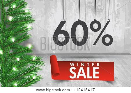 Winter Sale 60 Percent. Winter Sale Background With Red Ribbon Banner And Snow. Sale. Winter Sale. C