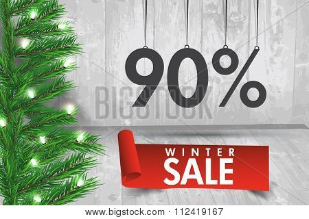 Winter Sale 90 Percent. Winter Sale Background With Red Ribbon Banner And Snow. Sale. Winter Sale. C