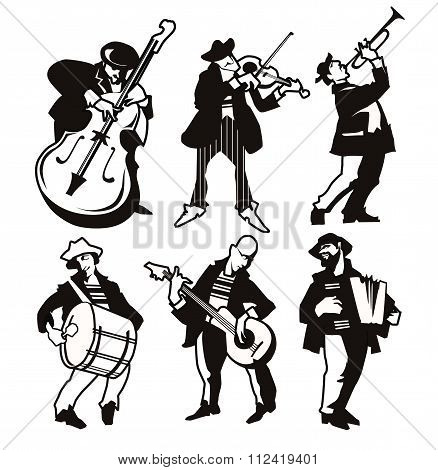 Musicans figures. Use for jazz festival poster, jass club, live music cafe and web design.