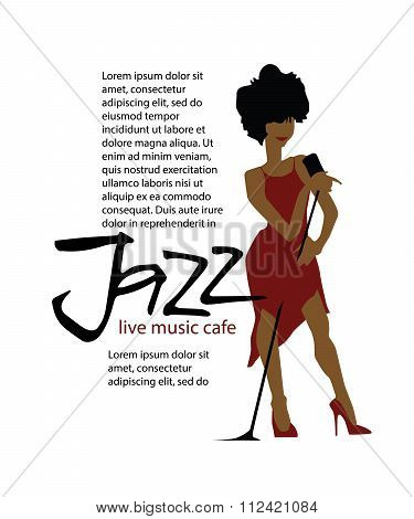 Musicians design concept set with jazzl music players. Isolated flat vectors. Woman singer. Vocalist. Use for jazz festival poster, jass club, live music cafe and web design. poster