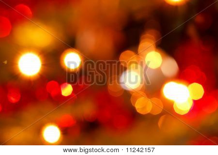 Defocused abstract red and yellow christmas background bokeh poster