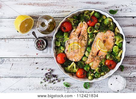 Baked Salmon Steak With Vegetables. Diet Menu. Top View