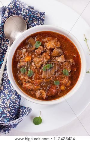 Chicken ragout with pumpkin mushrooms and oregano