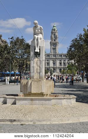 Statue Of Youth In The Avenue Dos Aliados