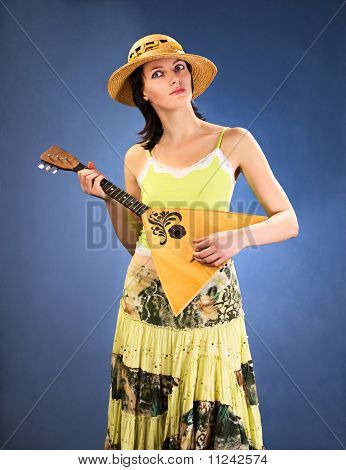 Pretty Woman With  A Stringed Instrument
