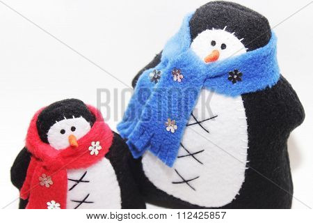 nice toys of handwork  penguins in scarf