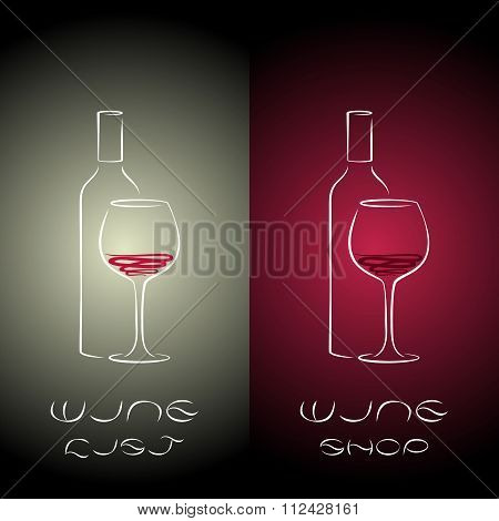 Wine List Design Templates With  Wine Bottles And Glass.