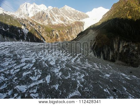 Gongga in Sichuan province, China on the glacier