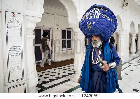 Sikh Pilgrim At Golden Temple.