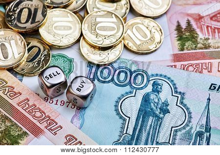 Coins, Ruble Banknotes And Dices Cubes