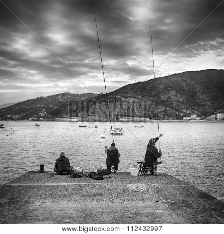 Fishermen. Black and white photo
