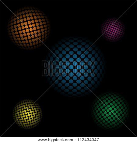 Abstract background with 3d spheres on a black background