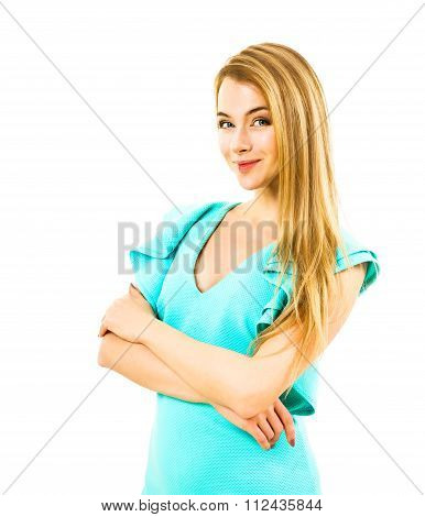 Smiling Foxy Woman in Turquoise Dress Isolated on White