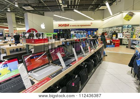 Khimki, Russia - December 22 2015. Laptops In Mvideo large chain stores selling electronics and hous