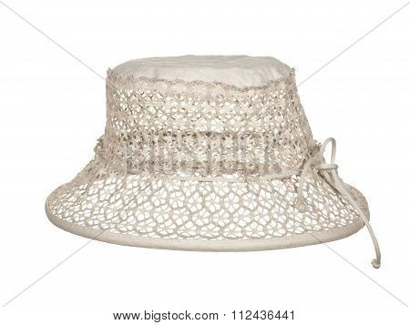 Delicate Female Hat With A Lace Isolated On White Background.