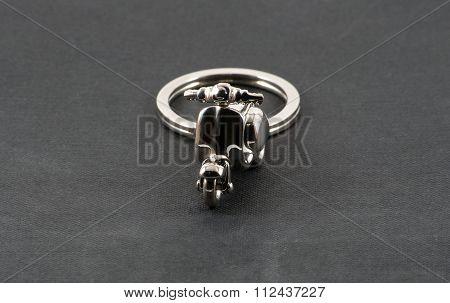 Motorbike Keychain Over Black