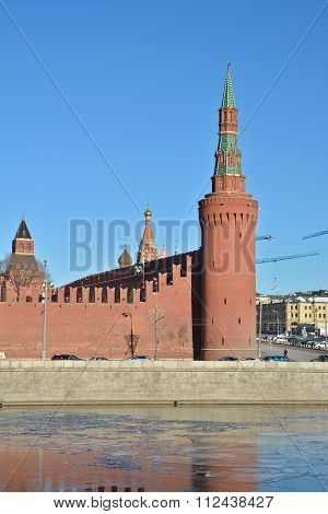 The Kremlin Moscow. Battlement and towers of the Kremlin - winter cityscape in the center of Moscow. poster