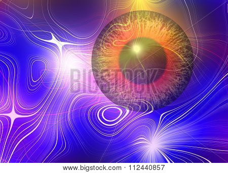 Magic eye. Abstract plasma discharge as a background. Psychedelic color image