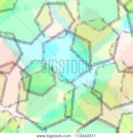 Seamless Pattern With Transparent Overlaying Blue And Green Hexagons