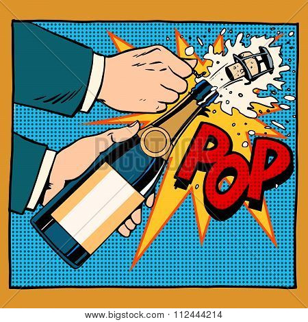 opening champagne bottle pop art retro style