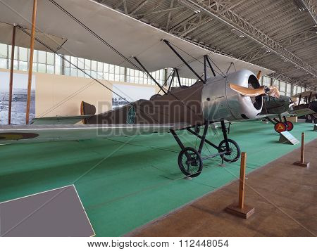 BRUSSELS-OCT. 1: A Sopwith Strutter antique military propeller prop airplane is seen on display Royal Museum of the Armed Forces and of Military History Cinquantenaire Park Brussels, Belgium on Oct. 1, 2015.