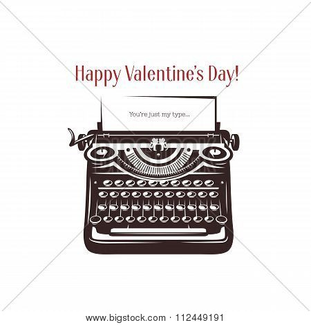 Valentine day card. Vintage typewriter with text on paper. Vector illustration