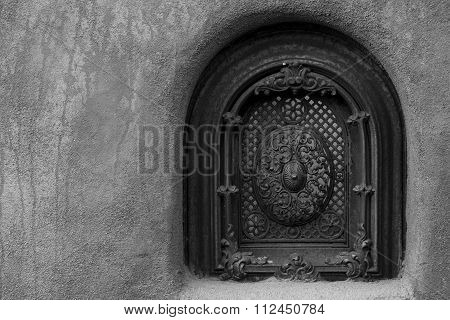 A window in the stucco of a building in Santa Fe New Mexico poster