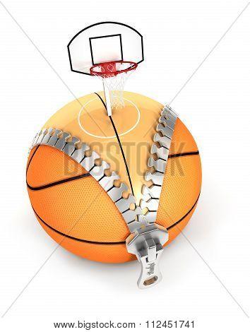 3d unzip basket ball concept