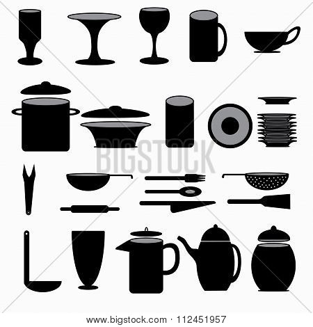 Kitchenware Symbols Collection Vector Illustration