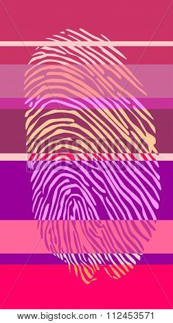 Fingertip On Striped Backdrop