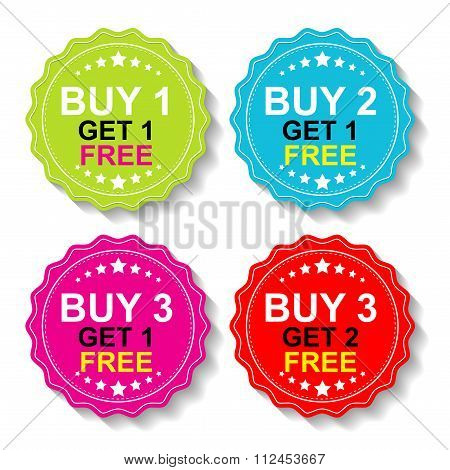 Sticker or Label For Marketing Campaign,Buy 1 Get 1 Free, Buy 2 Get 1 Free, Buy 3 Get 1 Free and Buy 3 Get 2 Free With Colorful Icon. poster