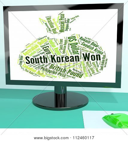 South Korean Won Represents Foreign Currency And Coinage
